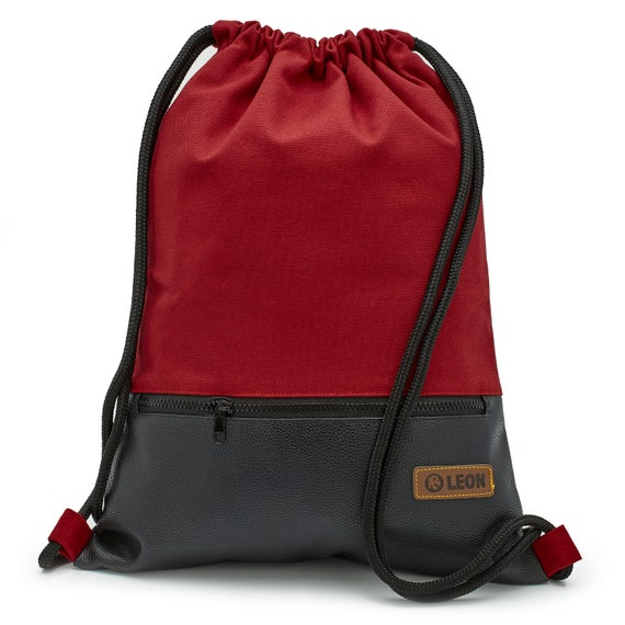 LEON by Bers bag gym bag backpack sports bag cotton gymbag approx.34 cm x approx.45 cm zipper edging bag, canvas red PU bottom SW