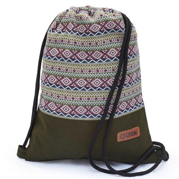 LEON by Bers Bag Gym Bag Backpack Sports Bag Cotton gym bag BOHOgruenbordauxzikzakraute