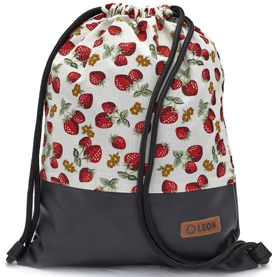LEON by Bers bag unisex gym bag backpack sports bag cotton gymbag width approx.34 cm height approx.45 cm. Strawberry fabric, faux leather