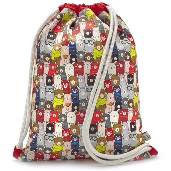 LEON by Bers nursery bag gym bag backpack kids sports bag cotton gym bag fabric bag, design Kindkatzebunt_rot