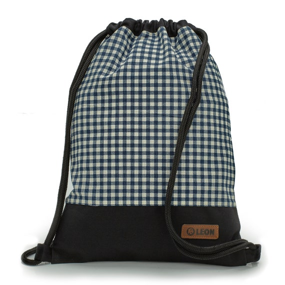 LEON by Bers bag men's gym bag backpack sports bag cotton gym bag width approx.34 cm height approx.45 cm, design blue plaid