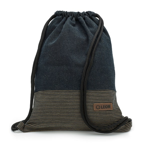 LEON by Bers bag gym bag backpack sports bag cotton gym bag width approx.34 cm height approx.45 cm