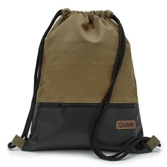 LEON by Bers bag gym bag backpack sports bag cotton gymbag zipper bag,khaki canvas black PU bottom