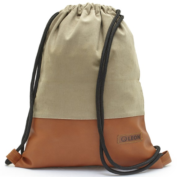 LEON by Bers bag mens and Daman gym bag backpack sports bag cotton gym bag width 34 cm height 45 cm, beige cord brownfaux leather