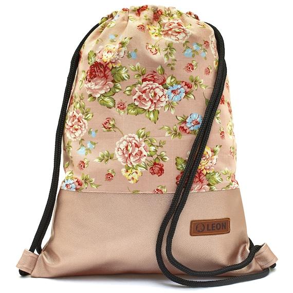 LEON by Bers bag gym bag backpack women sports bag cotton gym bag width approx.34 cm height approx.45 cm, design Rosarose_rosapu