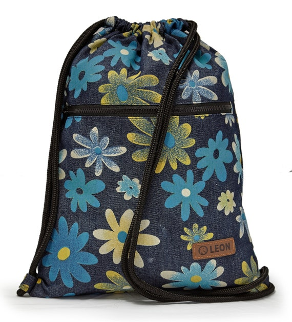 LEON by Bers women's bag men's gym bag backpack sports bag cotton gym bag width approx.34 cm height approx.45 cm, outside zipper