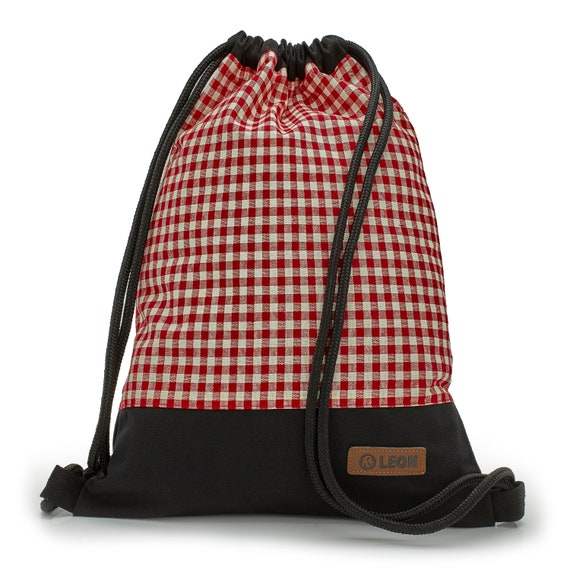 LEON by Bers bag women's gym bag backpack sports bag cotton gym bag width approx.34 cm height approx.45 cm, red checkered fabric