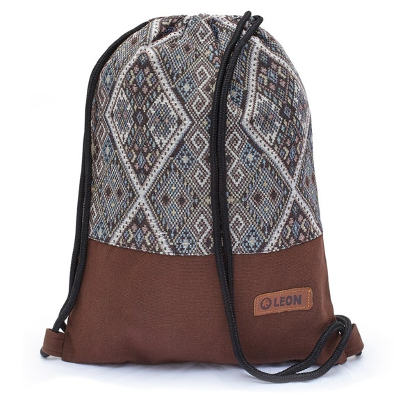 LEON by Bers Bag Gym Bag Backpack Sports Bag Cotton gym bag BOHOtBraunBlauWeissRune