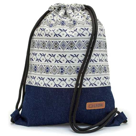 LEON by Bers bag gym bag backpack sports bag cotton gym bag width approx.34 xheight approx.45 cm, design blue tendrils on white,jeans bottom
