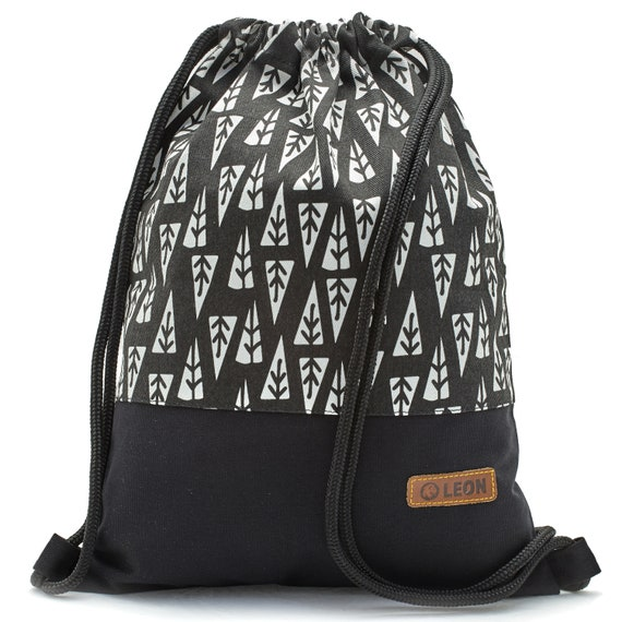 LEON by Bers Women's Bag Men's Gym Bag Backpack Sports Bag Cotton gym bag Width approx.34 cm height approx.45 cm,Tanne_SW