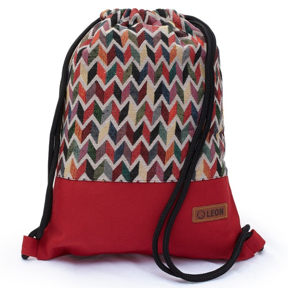 LEON by Bers Bag Gym Bag Backpack Sports Bag Cotton gym bag BOHOrotbraun beiigezikzak