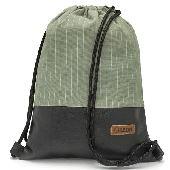 LEON by Bers bag unisex gym bag backpack sports bag cotton gymbag width approx.34 cm height approx.45 cm. Grey green fabric, faux leather