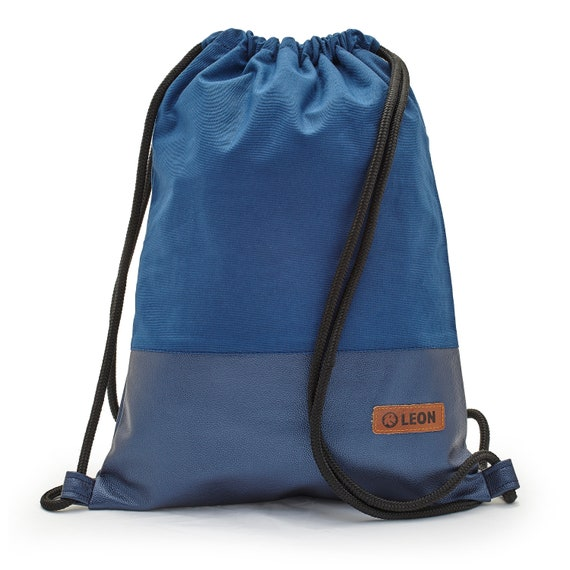 LEON by Bers bag gym bag backpack sports bag cotton gym bag width approx.34 cm height approx.45 cm, design blue fabric, blue PU bottom