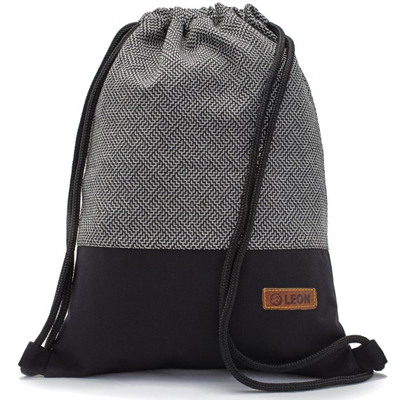 LEON by Bers bag gym bag backpack sports bag cotton gym bag width approx.34 cm height approx.45 cm Design Labyr Black/White