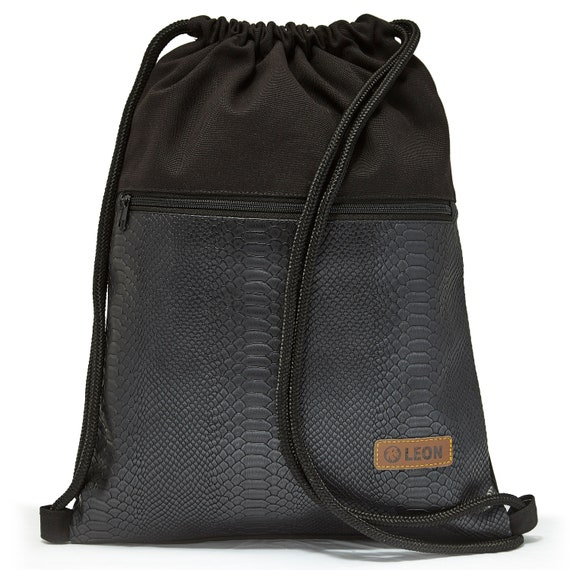 LEON by Bers Bag Women Men's Gym Bag Backpack Sports bag made of cotton gym bag Width approx.34 cm Height approx.45 cm, Snake Black PU