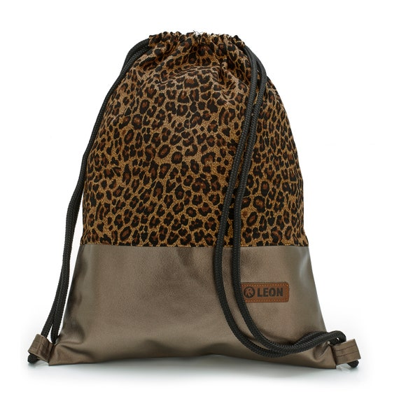 LEON by Bers Bag Women's Gym Bag Backpack Sports bag made of cotton gym bag Width approx.34 cm Height approx.45 cm, Design Leopard, Copper back