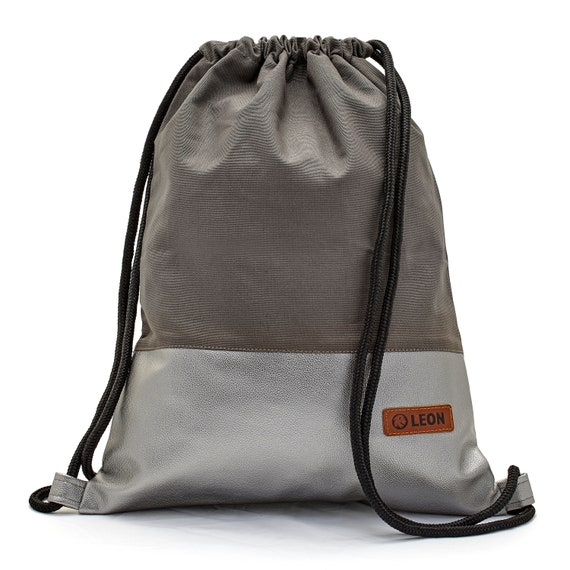 LEON by Bers Bag Unisex Gym Bag Backpack Sports bag Cotton gymbag Width approx.34 cm Height approx. 45 cm. Grey fabric, silver artificial leather