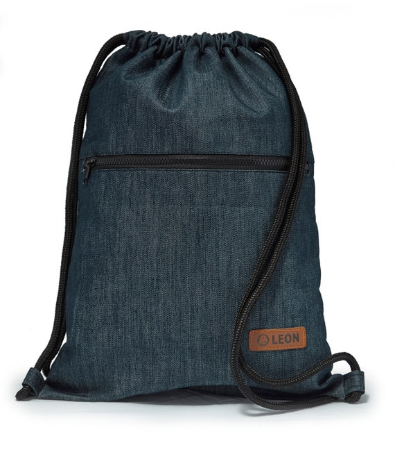 LEON by Bers men's bag gym bag backpack sports bag cotton gym bag width approx.34 cm height approx.45 cm, outside zipper, denim blue