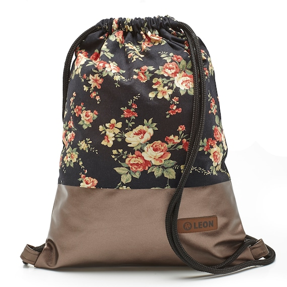 LEON by Bers bag women's gym bag backpack sports bag made of cotton gym bag width approx.34 cm height approx.45 cm , design roses on black