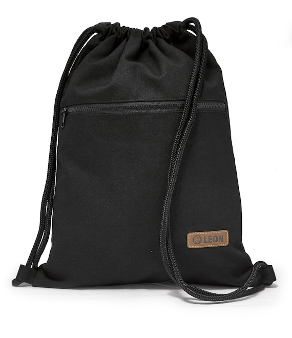LEON by Bers bag gym bag backpack sports bag cotton gym bag width approx.34 cm height approx.45 cm, outside zipper