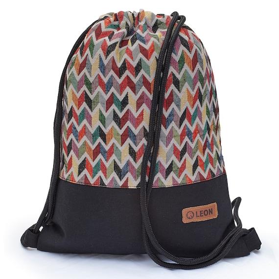 LEON by Bers Bag Gym Bag Backpack Sports Bag Cotton gym bag BOHOtbuntgrauzikzak
