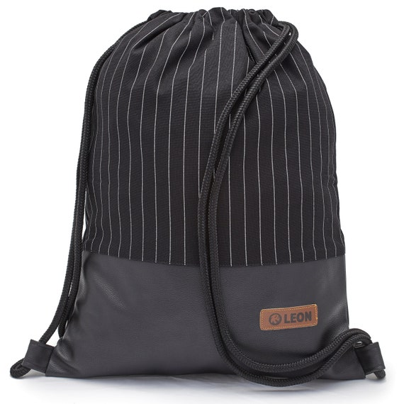 LEON by Bers Bag Unisex Gym Bag Backpack Sports Bag Cotton gymbag Width approx.34 cm Height approx.45 cm. Line black Fabric, artificial leather