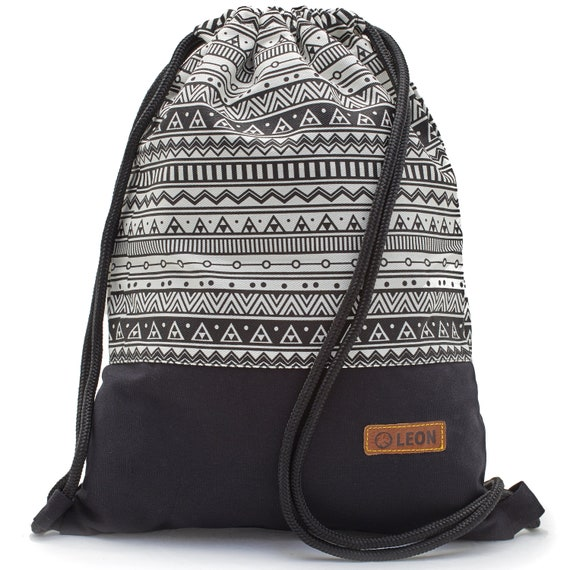 LEON by Bers Women's bag men's gym bag backpack sports bag cotton gym bag width approx.34 cm height approx.45 cm, Indio_SW