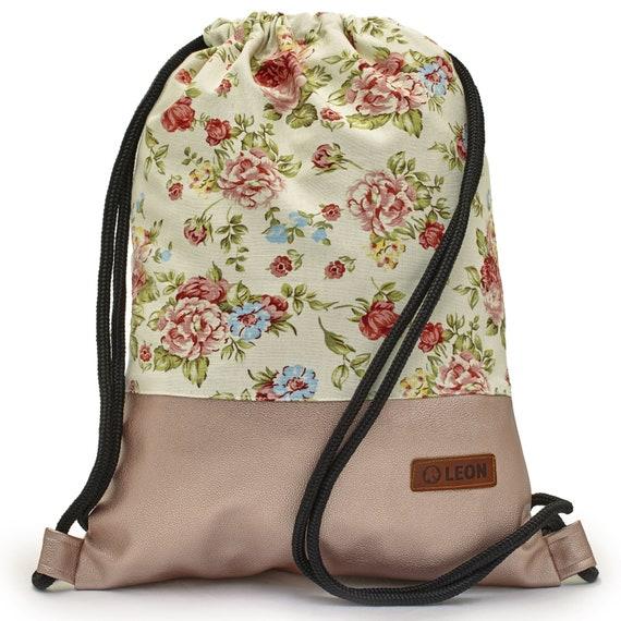 LEON by Bers bag gym bag backpack women sports bag cotton gym bag width approx.34 cm height approx.45 cm, design Beigerose_rosapu