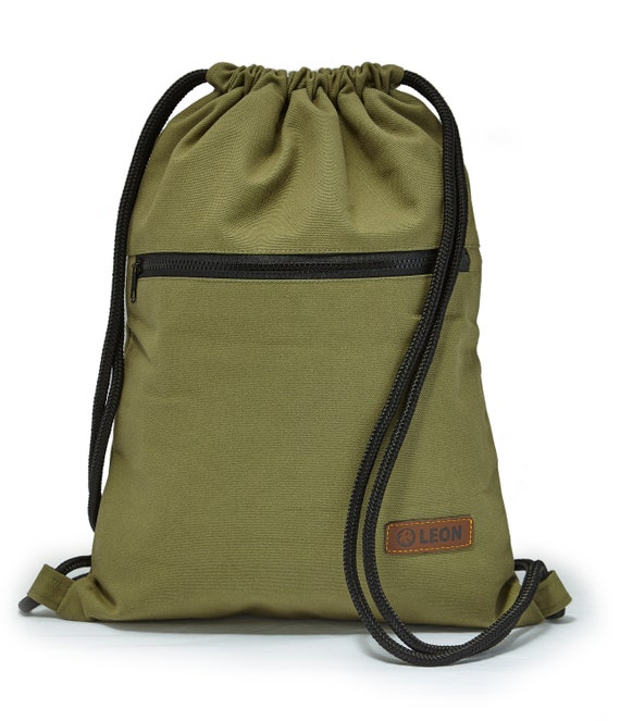 LEON by Bers bag gym bag backpack sports bag cotton gym bag width approx.34 cm height approx.45 cm, outside zipper, canvas olive