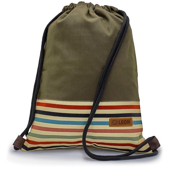 LEON by Bers Bag Gym Bag Backpack Sports bag made of cotton gym bag, canvas black, grey, pink, brown, dark blue bottom striped
