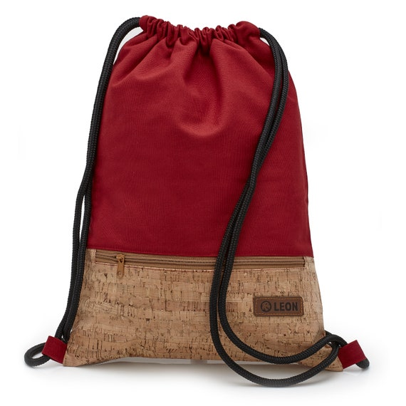 LEON by Bers bag gym bag backpack sports bag cotton cork coating gym bag width approx.34 cm height approx.45 cm, zipper, red
