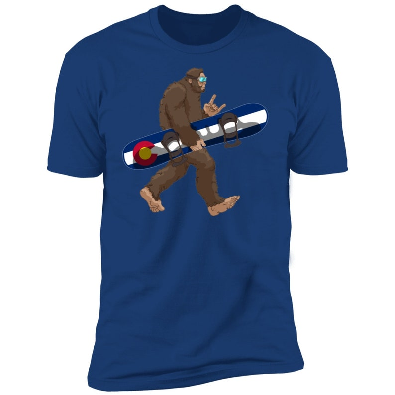 Colorado Flag Snowboarding Bigfoot for Snowboarders T-Shirt State of Colorado Flag Gift for Bigfoot Believers