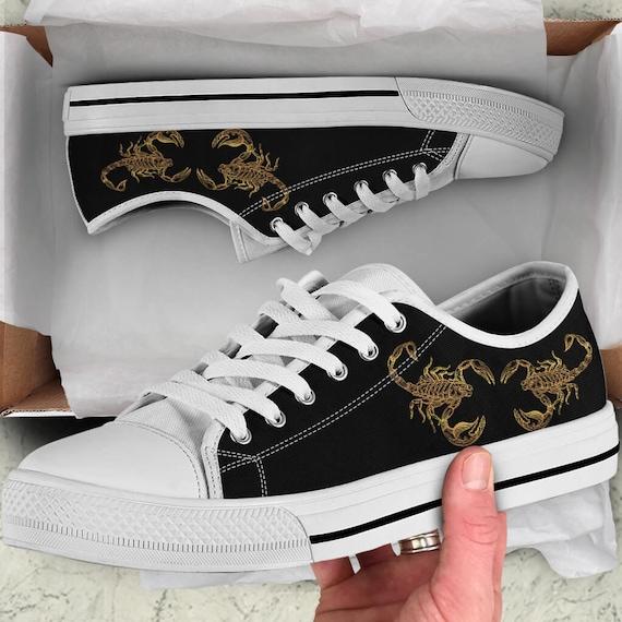 Skorpion Sternzeichen Männer und Frauen Schuhe, Scorpion Schuhe Kunst, schwarz und weiß Skorpion oben Halbschuhe, Grafik Design, kundenspezifische