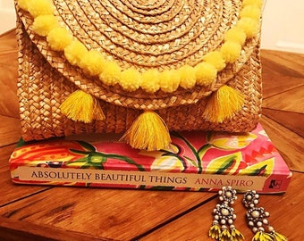 Limoncello Woven Clutch With Yellow Pom Poms and Tassel