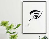 Contour Face Illustration,Black White Minimal Wall Print,Hand Painted Printed on High Quality Matte,5x7 8x10 11x14,Unique Gift idea