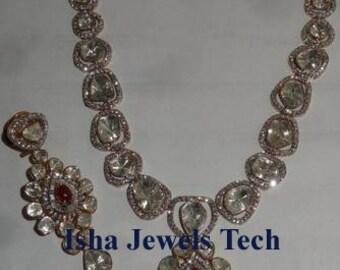 Victorian Diamond Rings Rose Cut 1.20ct PolkiEnamel Paint Diamond Silver 925 Rings