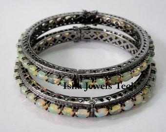 Aggressive Antique Style Rose Cut Diamond 925 Sterling Silver Wedding Bracelet Engagement & Wedding Bridal & Wedding Party Jewelry