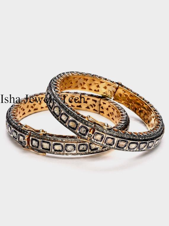 Natural Rose Cut Diamond Pave Natural Diamond Polki 18k Gold 925 Sterling Silver Vintage Bangle Bracelet Jeweley