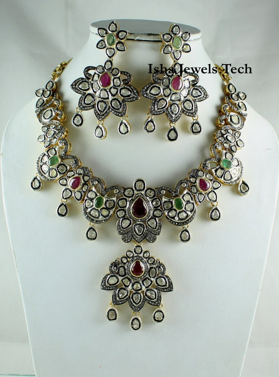 Victorian Jewelry Natural Rose Cut Diamond /& Uncut Diamond Polki Gold 925 Sterling Silver Vintage Fine Handmade Diamond Ring Jewelry