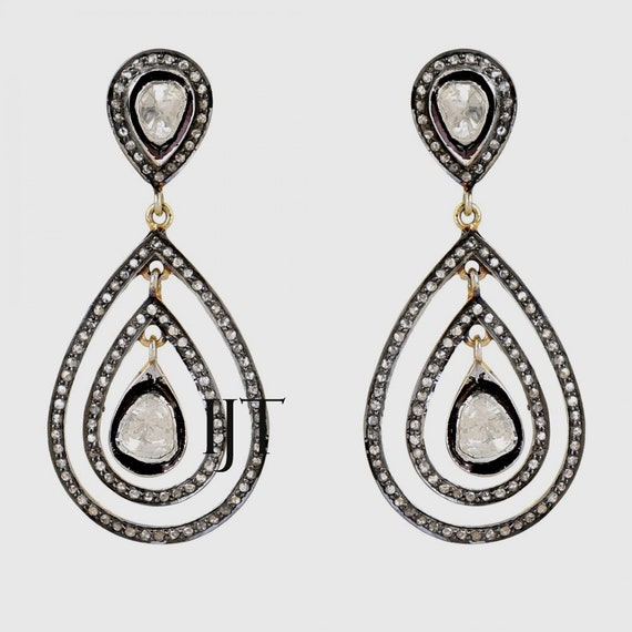 Natural Rosecut Diamond 18k Gold Earrings Jewelry