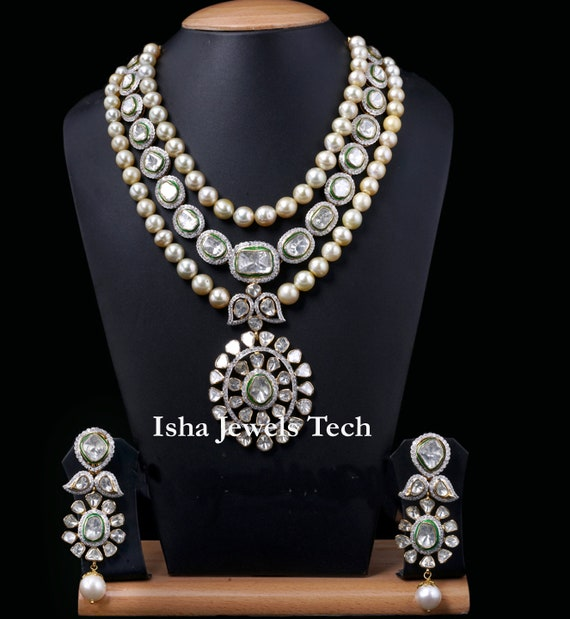 Victorian Fine Handmade Diamond Earrings Natural Uncut Diamond Polki /& Natural Pave Diamond Natural Pearl 925 Sterling Silver Jewelry