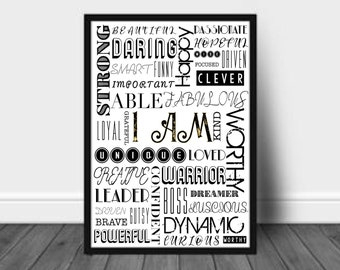 INSPIRATIONAL PRINT - I am - Yellow