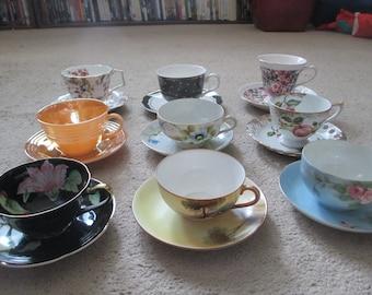 Mismatched Tea Cup and Saucer Set