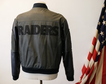 NFL  Raiders  Leather Varsity Jacket - 1980s 4c757728c