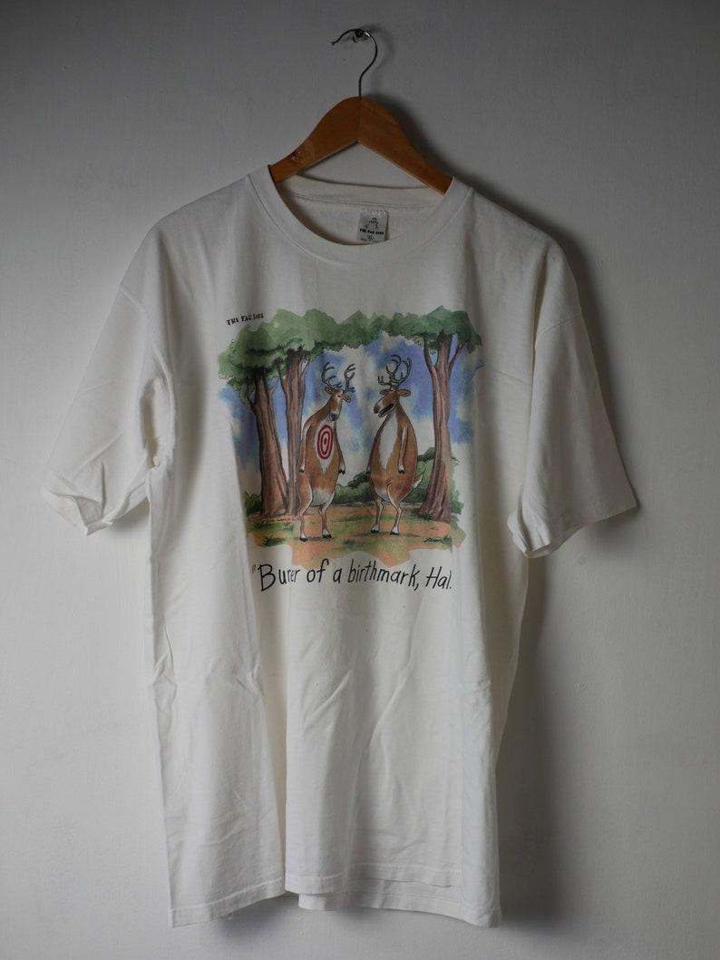 Made in USA \u2018Bummer of a Birthmark Far side official label Hal\u2019 Larson. 1986 The Far Side vintage white t-shirt