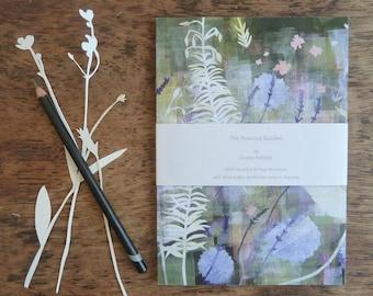 A5 Recycled Notebook, Peacock Garden Notebook, 80 Plain Pages, Floral Notebook, Flower Notebook, Louise Pettifer Artist, Great Dixter
