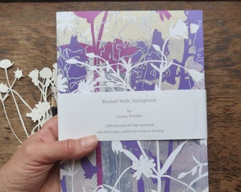 A5 Recycled Notebook, Bluebell Walk Notebook, 80 Plain Pages, Floral Notebook, Flower Notebook, Louise Pettifer, Louise Pettifer Artist,