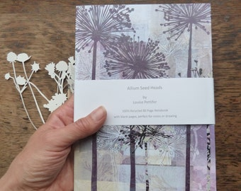 A5 Recycled Notebook, Allium Seed Heads Notebook, A5 Notepad, 80 Plain Pages, Louise Pettifer, Louise Pettifer Artist, Floral Notebook,