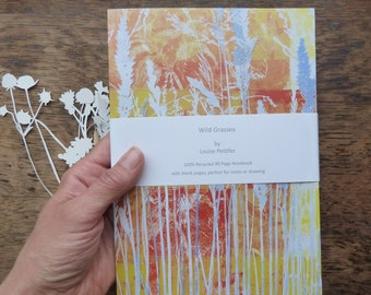 A5 Recycled Notebook, Wild Grasses Notebook, A5 Notepad, 80 Plain Pages, Louise Pettifer, Louise Pettifer Artist, Floral Notebook, Grasses