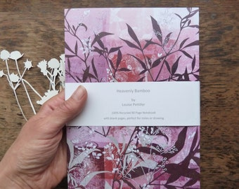 A5 Recycled Notebook, Heavenly Bamboo Notebook, Louise Pettifer, Louise Pettifer Artist, Notebook, Notepad, 80 Plain Pages, 100% Recycled